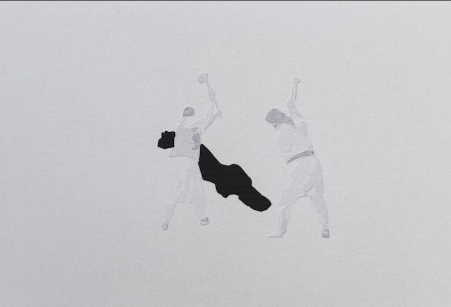 Giorgio Tentolini, Iconoclaste, 2016-17, 45x30 cm, carta pergamena bianca intagliata e sovrapposta a fondale nero